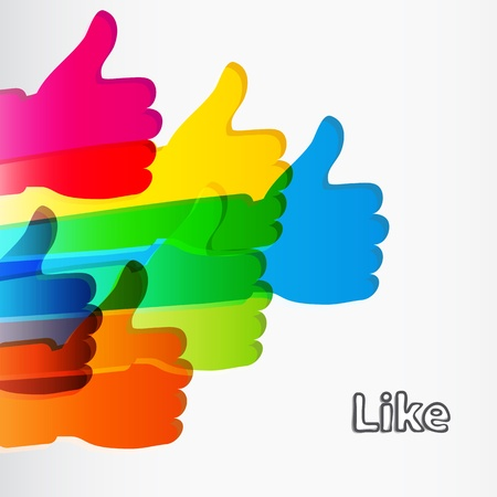 like button: Like and Thumbs Up symbol. Abstract background.  Vector illustration.
