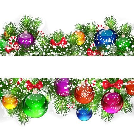 Kerst achtergrond met sneeuw bedekte takken van de kerstboom, versierd met snoepjes en ballonnen.
