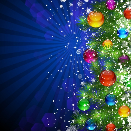 Blue Christmas Background with bright Christmas tree balls. Stock Vector - 15406202