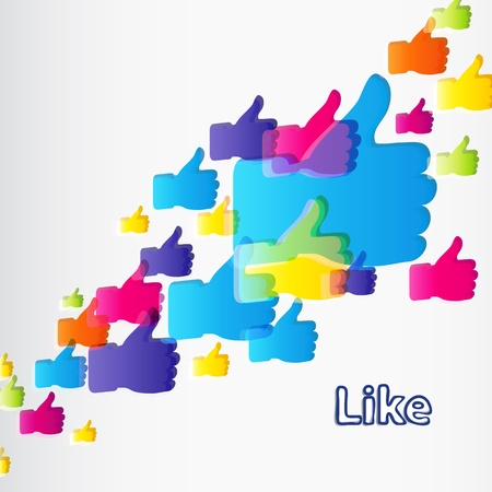 Like and Thumbs Up symbol. Abstract background.   Vector