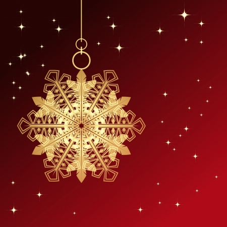 Red card with christmas snowflake, vector illustration Stock Vector - 15682964