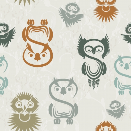 Seamless pattern with vaus owls on a neutral background. Stock Vector - 15682952