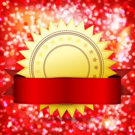 Template guarantee certificate.  golden label and red tape. Abstract festive background. Stock Vector - 15708673