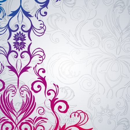 rococo: Abstract  floral background with east flowers. Illustration