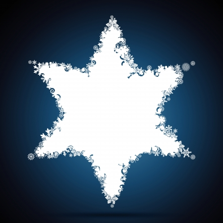 star of david: Christmas star, snowflake design background.