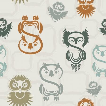 totem: Seamless pattern avec des chouettes diff�rents sur un fond neutre. Illustration