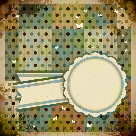 Abstract Retro Background with round label.  Vector