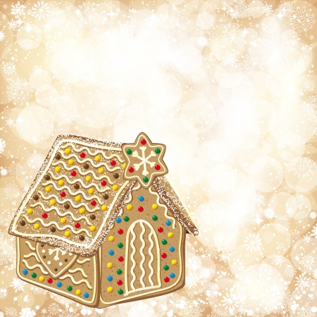 Christmas background with golden lights and gingerbread house. Vector