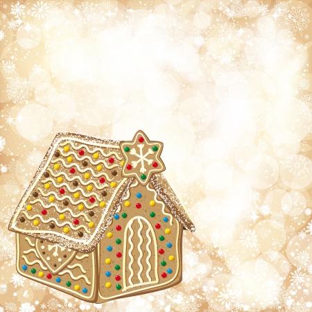 casita de dulces: De fondo de Navidad con luces doradas y la casa de pan de jengibre.