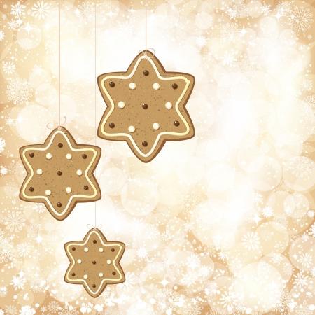 黄金色のライトとジンジャーブレッドの星とのクリスマスの背景。