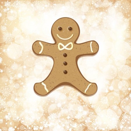 Christmas background with golden lights and gingerbread man. Vector