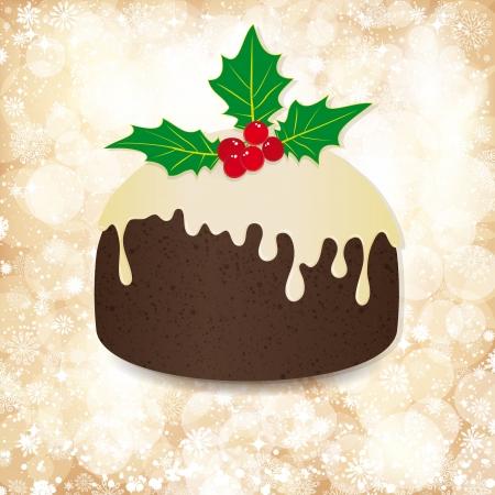 vanilla pudding: De fondo de Navidad con luces doradas y el pud�n. Vectores
