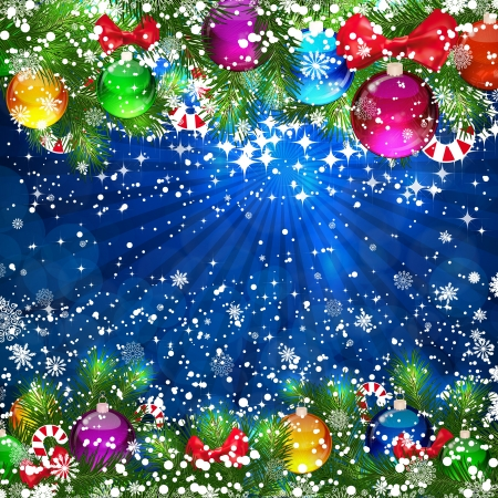bright christmas tree: Christmas Background with bright Christmas tree balls