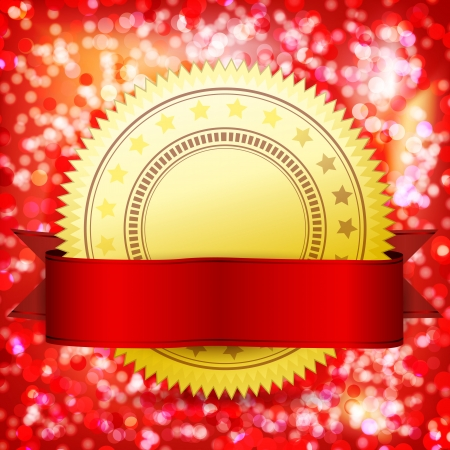 best quality: Template guarantee certificate golden label and red tape. Abstract festive background. Illustration