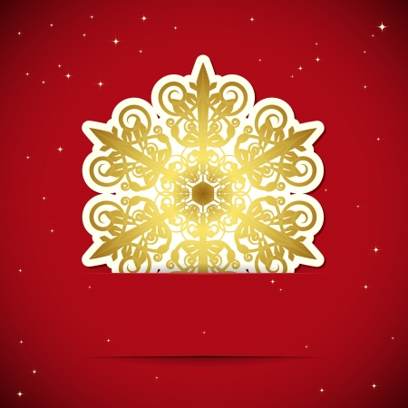 Christmas background. Snowflake inserted into a slot on the paper card illustration. Vector