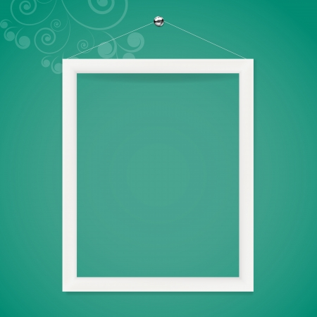 White frame on the color wall background. Illustration