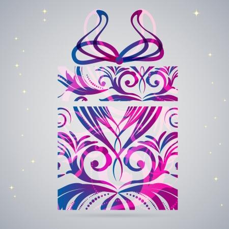 Ornament Christmas gift box illustration. Vector