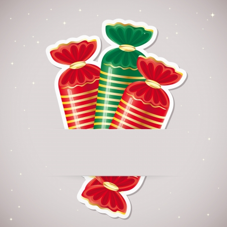 Background with candy inserted into a slot on the paper card illustration. Vector