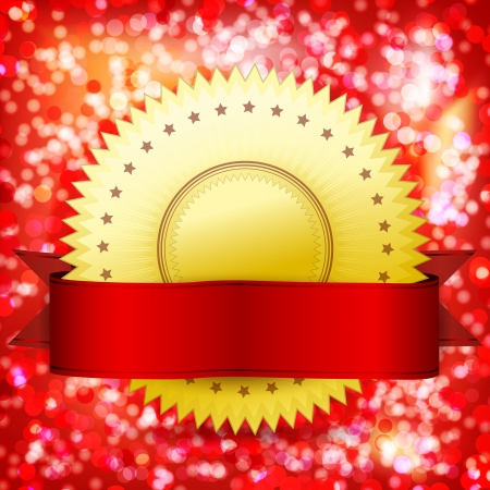 Template guarantee certificate. Vector golden label and red tape. Abstract festive background. Vector