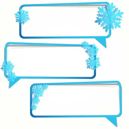 Winter sticker in the form of an empty frame for your text. Vector