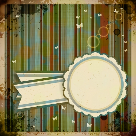 Abstract Retro Background with round label. Vector Illustration. Vector