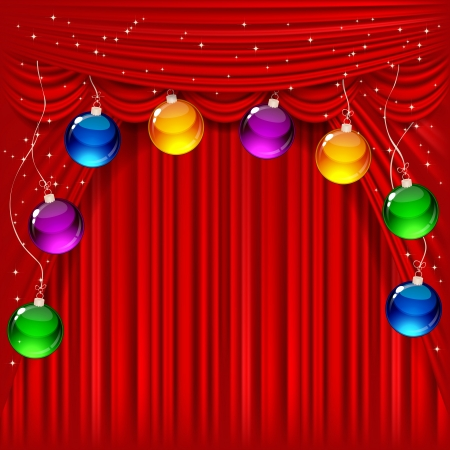 Christmas background with red satin and balls. Vector