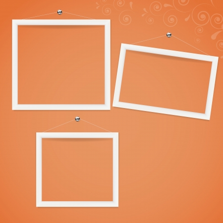 White frame on the color wall. background. Vector