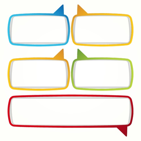 shadow speech: Colorful speech bubble frames. Labels in the form of an empty frame for your text. Illustration