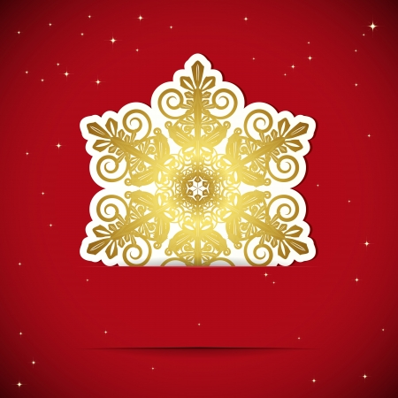 Christmas background. Snowflake inserted into a slot on the paper card.  Stock Vector - 15971746