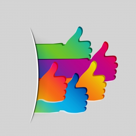 accept icon: Like and Thumbs Up symbol. Abstract background