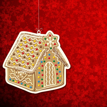 Christmas background with gingerbread house. Vector