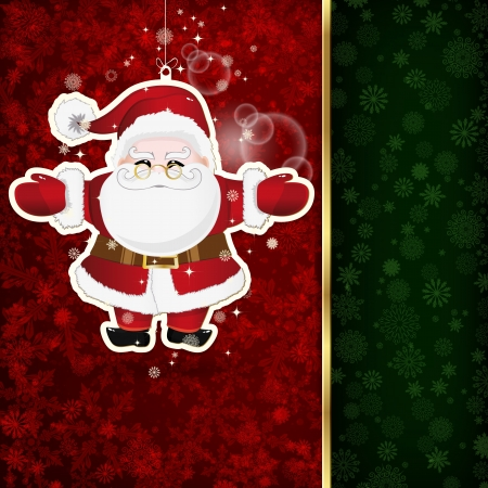 Background with Christmas decoration and snowflakes, illustration.  Vector