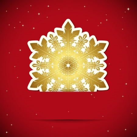 Christmas background. Snowflake inserted into a slot on the paper card. Vector illustration. Stock Vector - 16374063