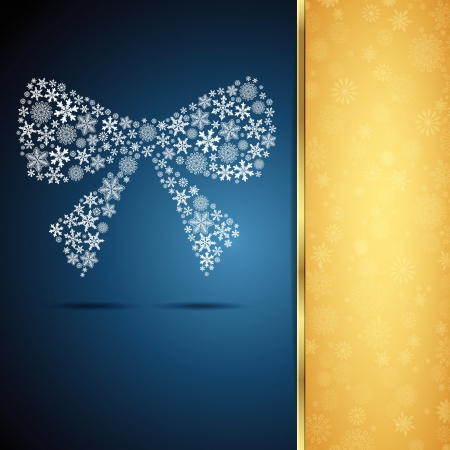 Christmas bow, snowflake design background. Vector