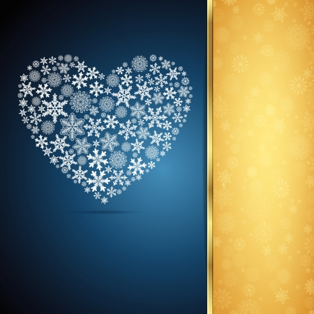 Christmas heart, snowflake design background. Vector