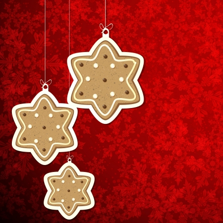 Christmas background with gingerbread stars. Stock Vector - 16374073