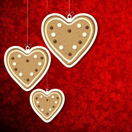 Christmas background with gingerbread hearts. Vector