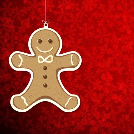galleta de jengibre: De fondo de Navidad con el hombre de pan de jengibre.