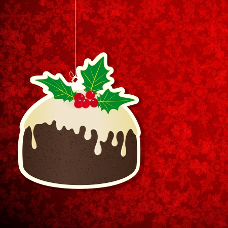 Christmas background with pudding. Vector