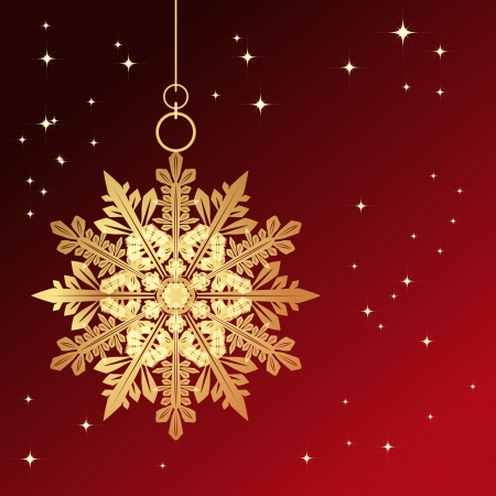Red card with christmas snowflake, vector illustration Stock Vector - 16593419