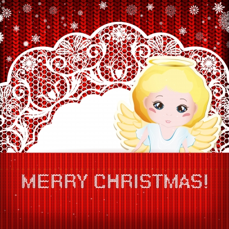 christmas angel: Christmas decorations on handmade knitted background.