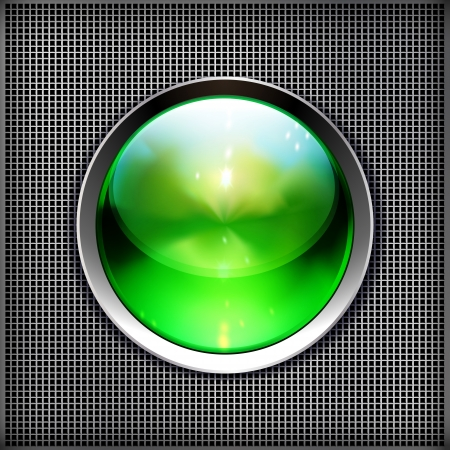 Techno background with glossy button. Metal banner with huge space for information.  Vector