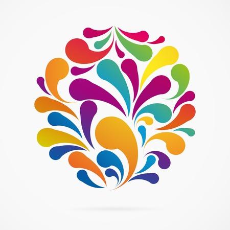 Cirkel gemaakt van kleurrijke boog druppels. Decoratieve achtergrond.