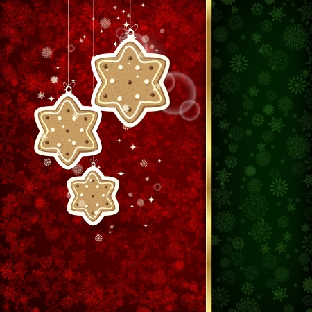christmas eve: Background with Christmas decoration and snowflakes, illustration.