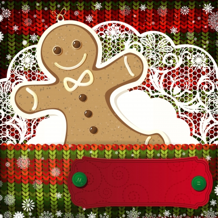 knitted background: Christmas decorations on handmade knitted background.