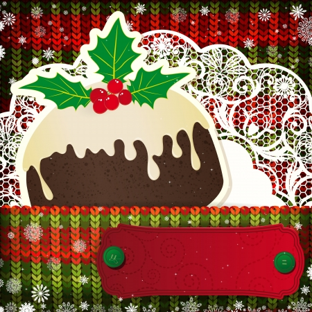 christmas pudding: Christmas decorations on handmade knitted background.