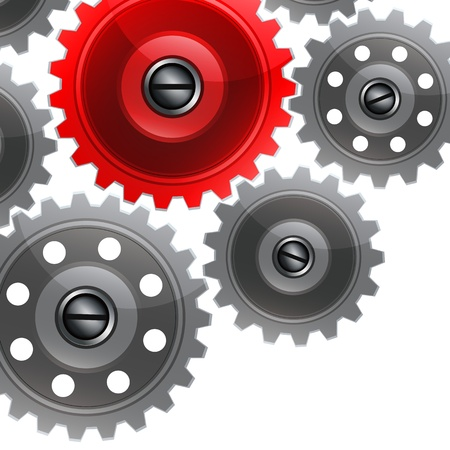 Group gears on white background. Vector