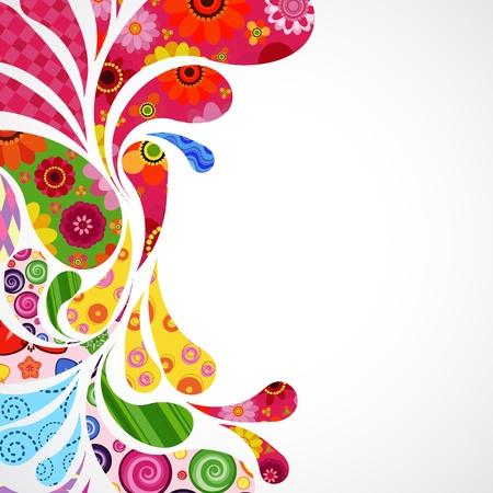 abstrakt: Blommor och prydnadsväxter post bakgrund. Illustration