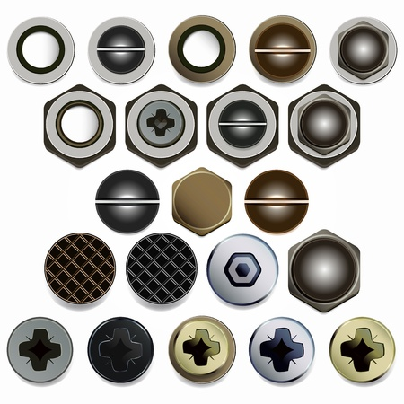 Screws, bolts and nuts heads set. Isolated on white background. Vector