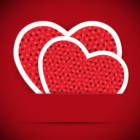 Two paper heartes postcard. Valentine's day background.  Vector